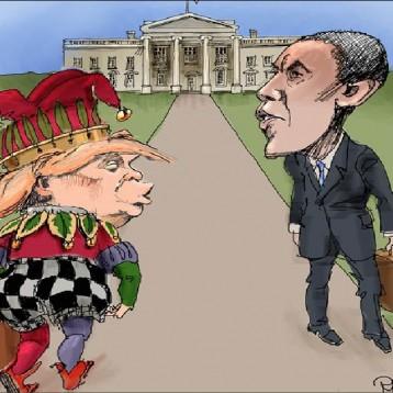 """عن """"موقع كارتون"""" سياسي البيت الابيض بين اوباما وترامب"""
