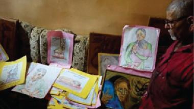 عراقي يرسم وحشية تنظيم داعش الإرهابي قرب الموصل