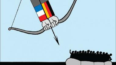 القوس والسهم في ايدي المانيا وفرنسا عن موقع «كارتون سياسي»