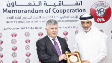 تجديد اتفاقية التعاون بين اتحاد الكرة العراقي ونظيره القطري