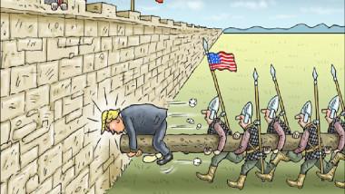 ترامب ينطح سور الصين عن موقع «كارتون سياسي»