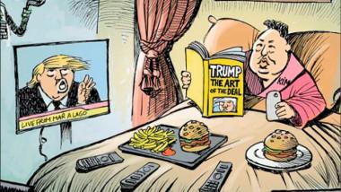 كيم يستعد للقاء ترامب عن موقع «كارتون سياسي»