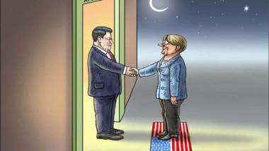 ميركل في الصين عن موقع «كارتون سياسي»