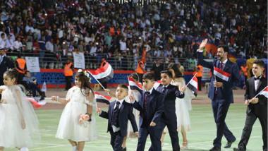 مباهج الفرح تملىء سماء واسط  في حفل افتتاح ملعب الكوت الأولمبي