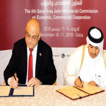 العراق وقطر يوقّعان محضر اجتماع تضمّن 14  بندا للتعاون الثنائي في جميع المجالات