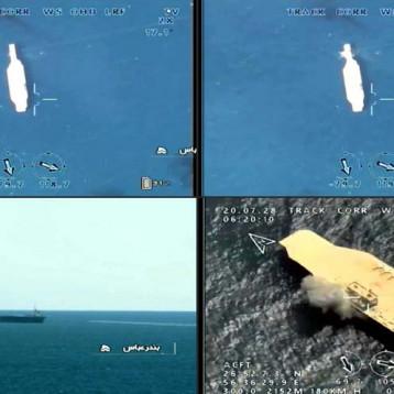 """مجسم """"حاملة الطائرات الوهمية"""" الإيرانية يغرق بخطأ عسكري خارج ميناء بندر عباس"""
